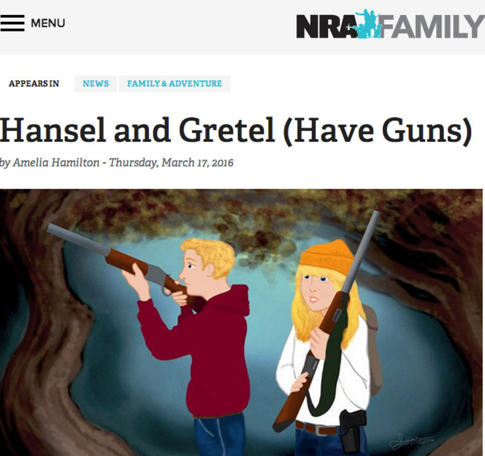 "The National Rifle Association's NRA Family website retells familiar fairy tales such as ""Hansel and Gretel"" to put guns in the hands of the characters."