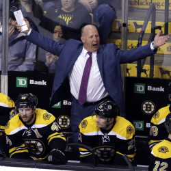Bruins coach Claude Julien yells at the officials after they disallowed an apparent goal in the third period of a March 24 game against the Florida Panthers. The Bruins ended up losing their fifth straight game, 4-1.