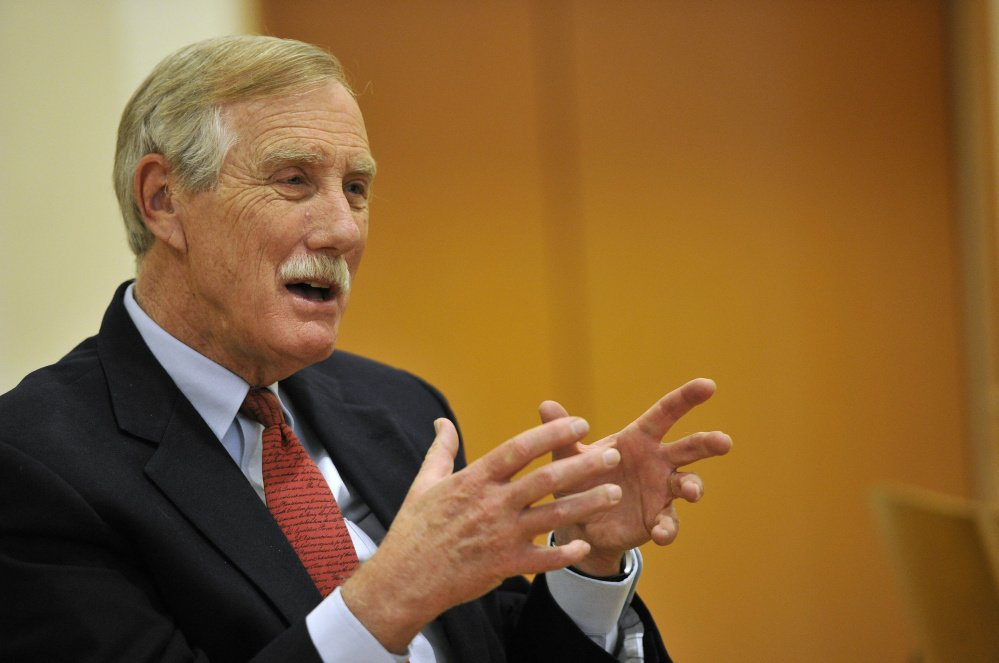 """Sen. Angus King said Friday at his news conference in Brunswick, """"An explicit part of ISIS' strategy ... is to drive a wedge between Muslims that live in the West and their societies."""""""