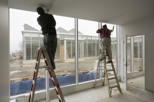 ROCKLAND, ME - MARCH 16: Painters work on The Center for Maine Contemporary Art building in downtown Rockland, which is currently under construction and is scheduled to open in June. (Photo by Carl D. Walsh/Staff Photographer)