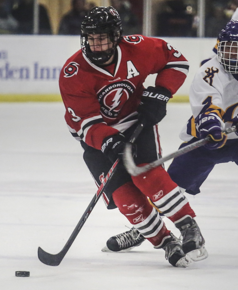 """Matt Caron, who helped Scarborough appear in two straight Class A state championship games, also impressed his opponents. """"Caron is the best center in the state,"""" said Cheverus Coach Dan Lucas."""