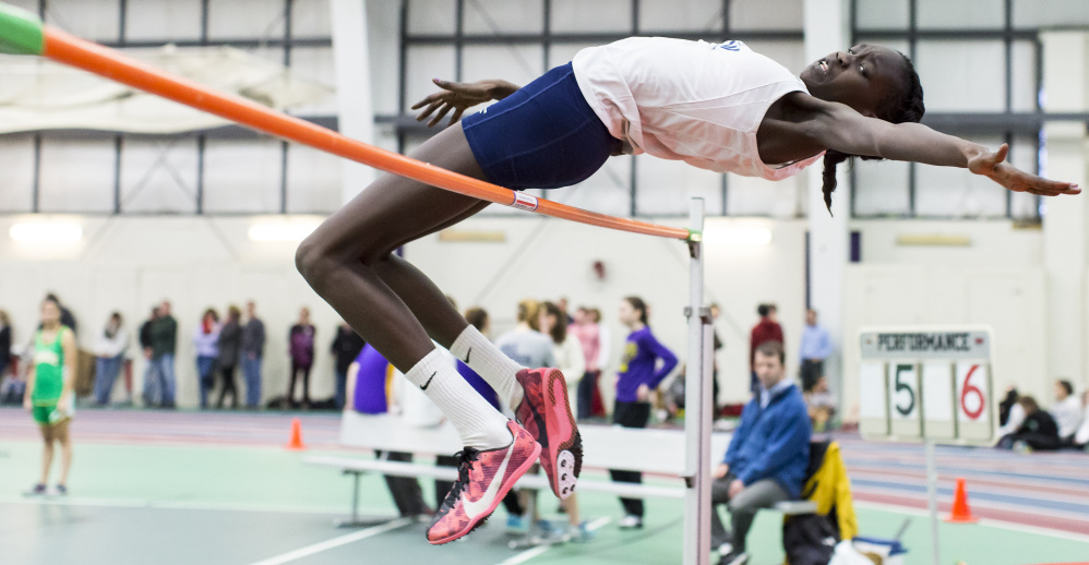 Nyagoa Bayak, a freshman from Westbrook, recorded first-place finishes in the high jump and long jump and placed third in the triple jump at the SMAA indoor track championships in Gorham on Feb. 6. Bayak went on to set a state record in the high jump at the Class A championships, then won the New England championship.