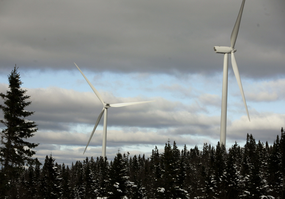Turbines are seen along the Kibby Mountain Range in western Maine. The wind farm includes 44 turbines.