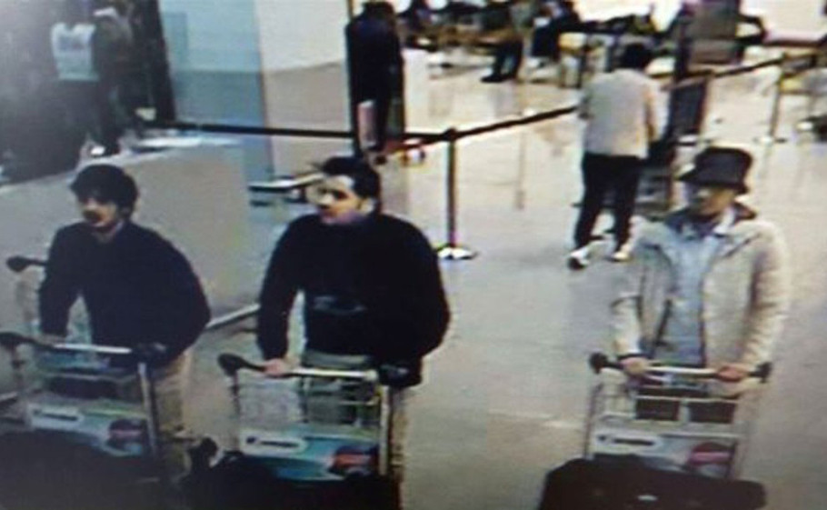 Image provided by the Belgian Federal Police in Brussels shows three men who are suspected of taking part in the attacks at the Brussels airport on March 22.
