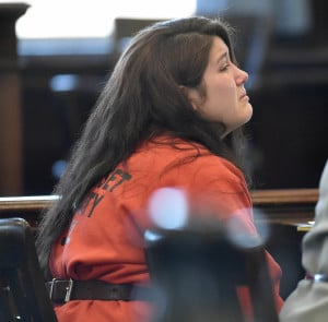 Kayla Stewart, shown at a court hearing February, was arraigned Tuesday on charges of killing her infant son.