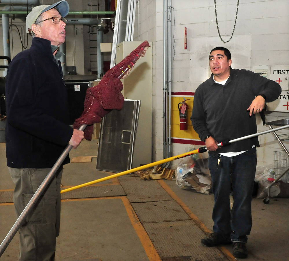 Terry Heitz, left, of Avian Haven, and Waterville Animal Control Officer Chris Martinez plan strategy Thursday to net a turkey vulture that became trapped inside the boiler building at the former Seton Hospital in Waterville.