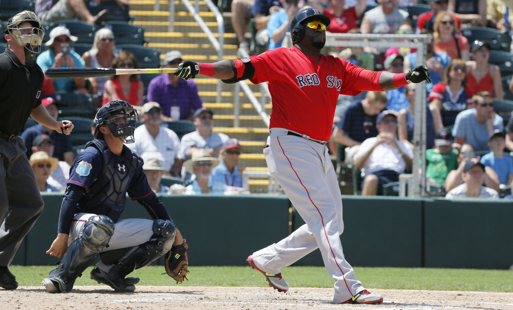 David Ortiz had not hit a home run during training this spring, but said goodbye to Fort Myers on Thursday with a shot in the fifth inning of Boston's 7-4 loss to the Minnesota Twins. The catcher is John Ryan Murphy.