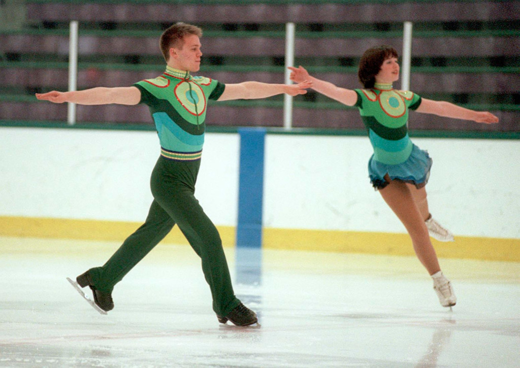 Noah Abrahams and Alexa Ainsworth practice in February of 2000 for the National Figure Skating competition. Ainsworth's experience as a figure skater helped her get a job six years later as an intern covering the Winter Olympics in Turin, Italy. Press Herald file photo/John Ewing