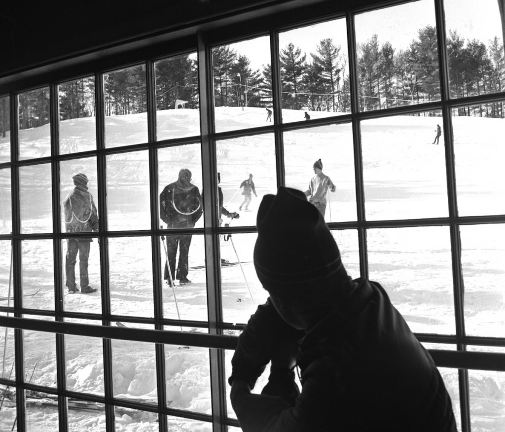 A Portland Evening Express photograph of the Gorham community ski tow on December 31, 1970.