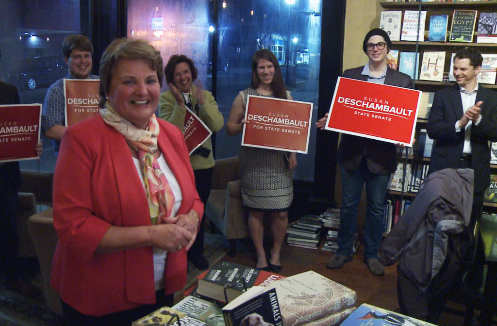 Democrat Susan Deschambault beat out her Republican opponent Stephen Martin in a special District 32 election Tuesday. WCSH photo