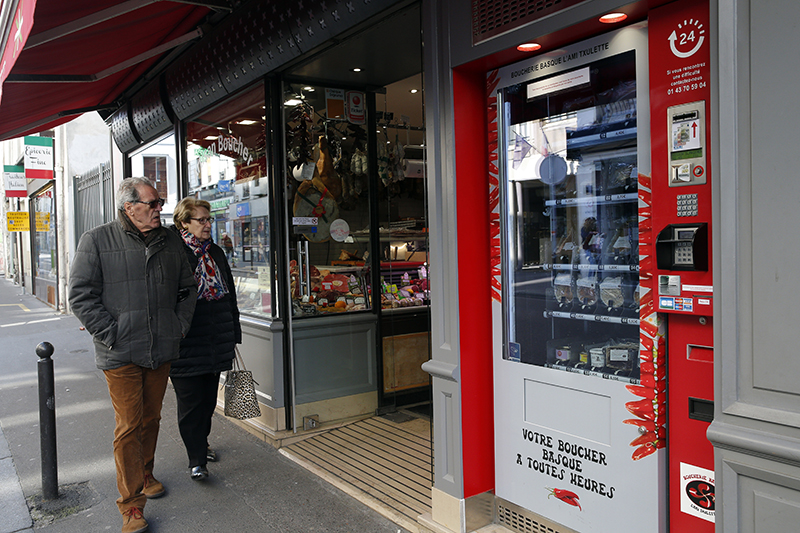A meat vending machine sells Basque specialties in Paris.