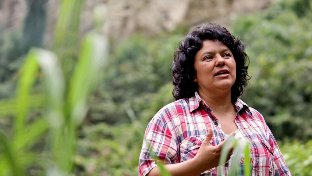 In this Jan. 27, 2015 photo released by The Goldman Environmental Prize, Berta Caceres speaks to people near the Gualcarque river located in the Intibuca department of Honduras. The Associated Press
