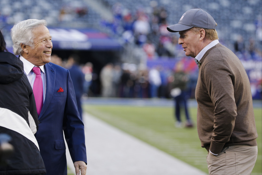New England Patriots owner Robert Kraft, left, took a not-so-subtle shot at NFL Commissioner Roger Goodell after the Patriots' win in Super Bowl LI. And now it's time for him, the team and its fans to let Deflategate go.