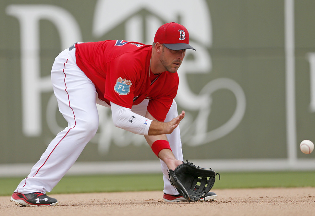 Travis Shaw fields a grounder during a spring training game on March 24. On Thursday he was named Boston's starting third baseman, over big-money free agent Pablo Sandoval. The Associated Press