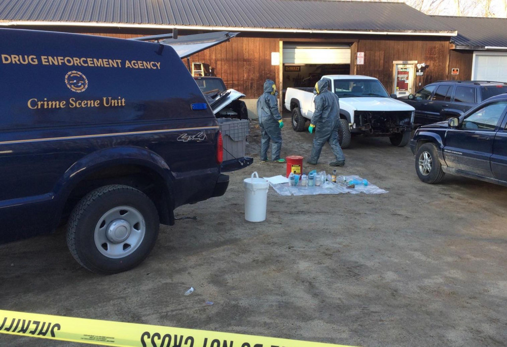Police investigate the garage in Raymond where they say a meth lab was discovered Tuesday. Photo courtesy Maine Department of Public Safety