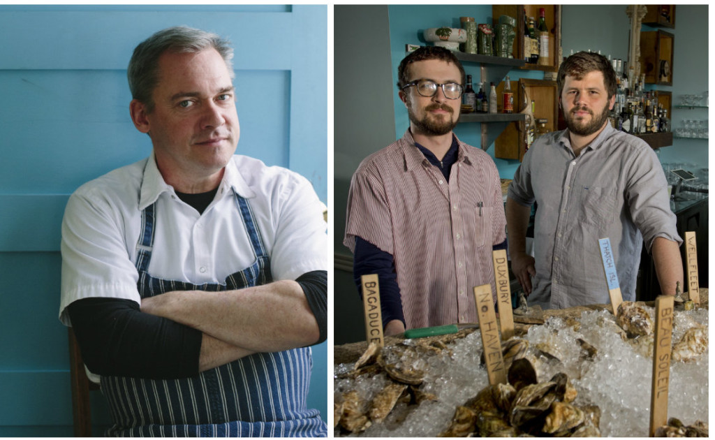 Chef Brian Hill of Francine Bistro in Camden, left, says he'll be in Chicago for the James Beard Awards on May 2, while chefs Mike Wiley and Andrew Taylor at Eventide Oyster Co. in Portland are also nominated in the Best Chef: Northeast category.