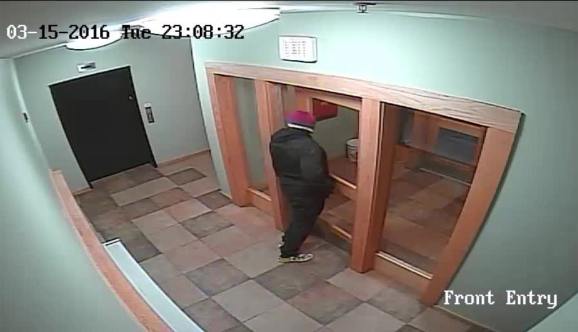 This image from surveillance video shows the suspect leaving 88 Gilman St. through the front door at 11:08 p.m. Tuesday. Photo courtesy  Portland Police Department.