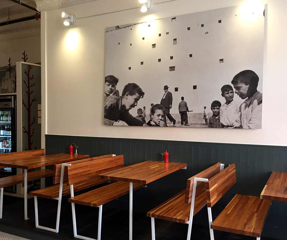 Some of the seating at Hero, a new casual eatery in Monument Square.