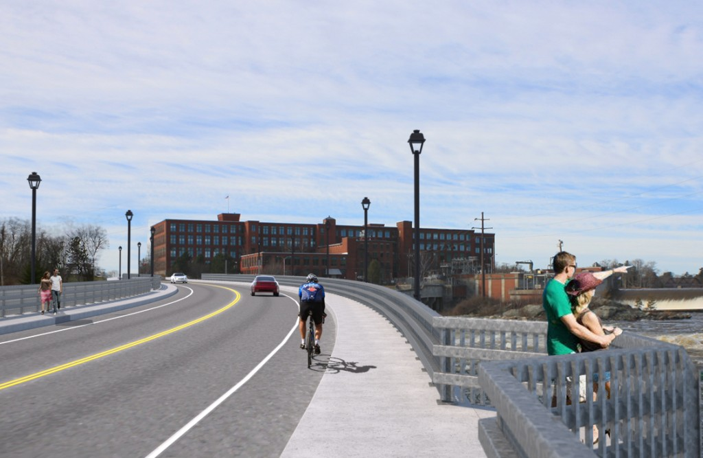 This rendering shows what the view would be from the new bridge approaching downtown Brunswick. Courtesy Maine Department of Transportation