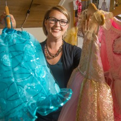 Hannah Renyi of Cumberland makes and sells high-end princess gowns and accessories for young children through her company, By Goldenstar. John Ewing/Staff Photographer