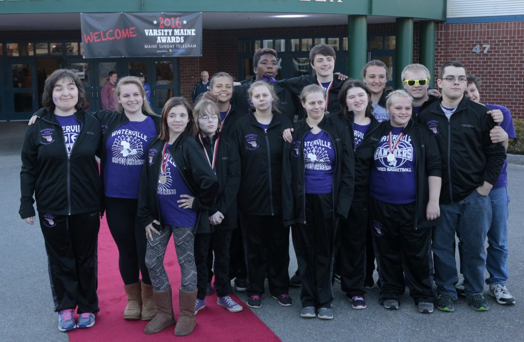 Members of the Waterville unified basketball team pose on the red carpet after arriving at the Varsity Maine Awards at Costello Sports Complex in Gorham.  Derek Davis/Staff Photographer