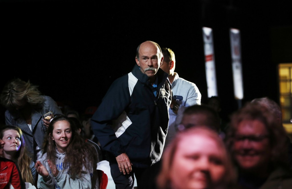 Rick Clark of York High School makes his way to the stage to accept the Coach of the Year award at the Varsity Maine Awards at Costello Sports Complex in Gorham.  Derek Davis/Staff Photographer