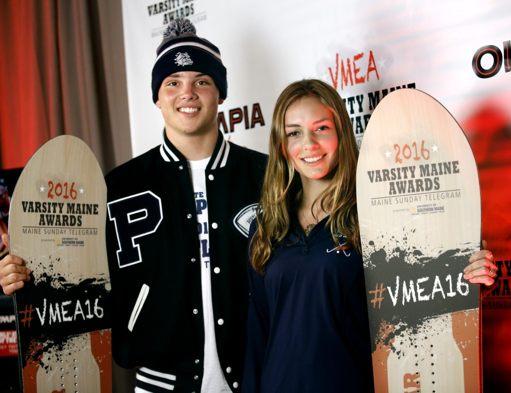 Joe Esposito of Portland High School and Lily Posternak of York High School pose for photographs after being award Boys' Athlete of the Year and Girls' Athlete of the Year at the Varsity Maine Awards at Costello Sports Complex in Gorham. Derek Davis/Staff Photographer