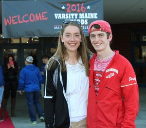 Ellen Snow of Scarborough with track team member Colin Tardiff, recipient of The Leap Year award.