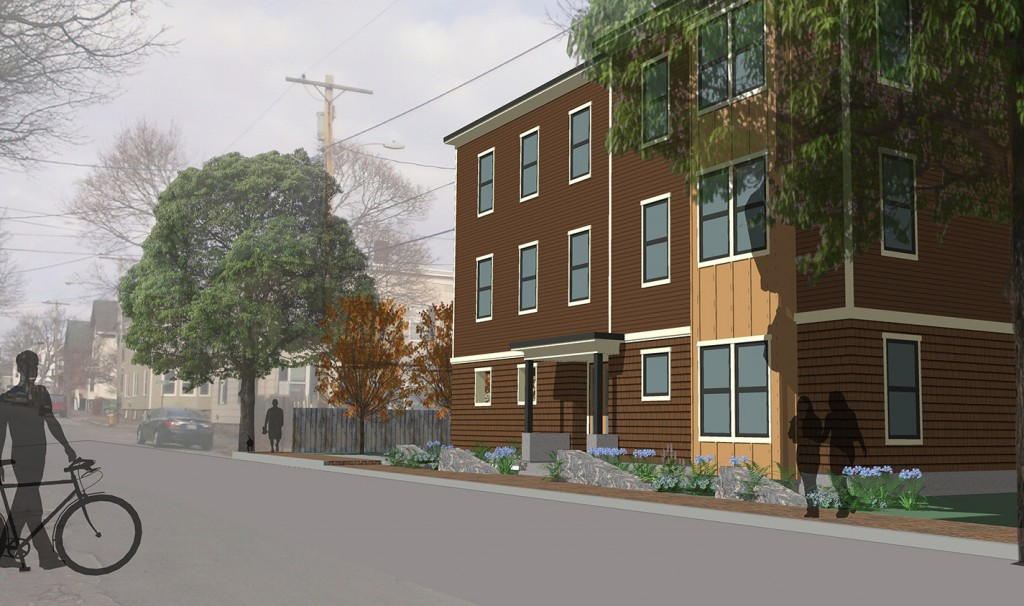 An artist's rendering shows the project proposed for 65 Munjoy St. in Portland.