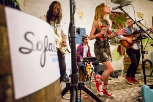 Amy & the Engine play the Urban Farm Fermentory during an event organized by the Maine chapter of Sofar Sounds, which puts on small, non-advertised, invitation-only shows in homes, stores, garages or other unlikely places. From left are Vinny Da Silva, Manuel Ruiz, Amy Allen, and Luke Niccoli.