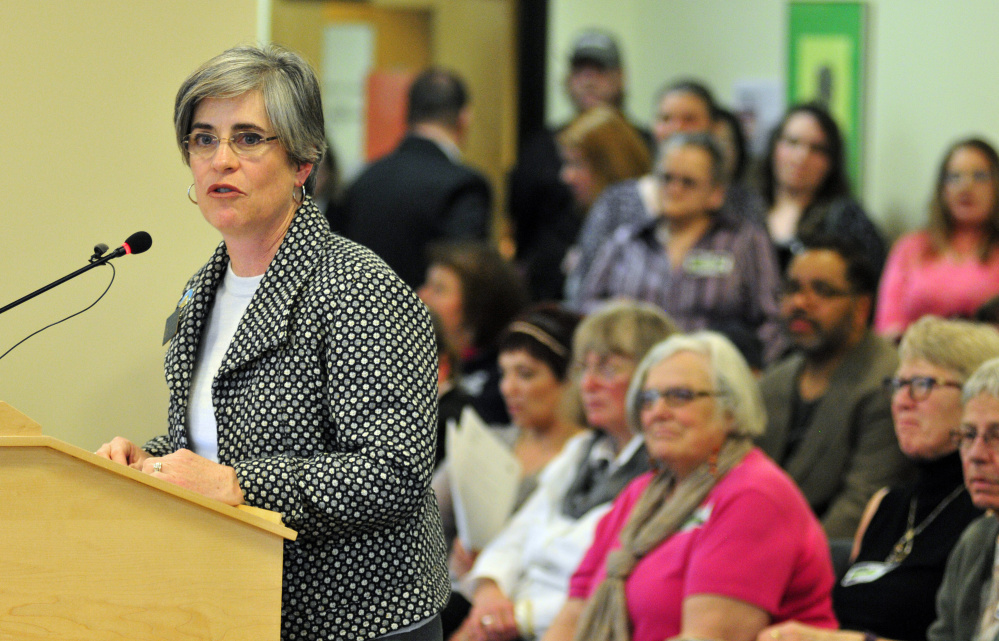 State Sen. Cathy Breen, D-Falmouth, gives personal testimony Friday about the importance of mental health services that are proposed for cuts.