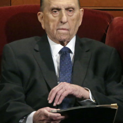 Thomas S. Monson, the 88-year-old president of The Church of Jesus Christ of Latter-day Saints, attends Saturday's session.