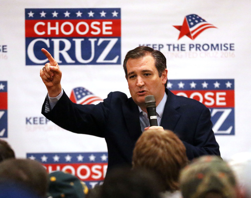 Republican presidential candidate Ted Cruz speaks Sunday at Florian Gardens in Eau Claire, Wis.