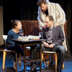 Lisa Boucher Hartman as Jen Cummings, Christopher Holt, seated, as Digby Preston and Nick Schroeder as Hal Richards.