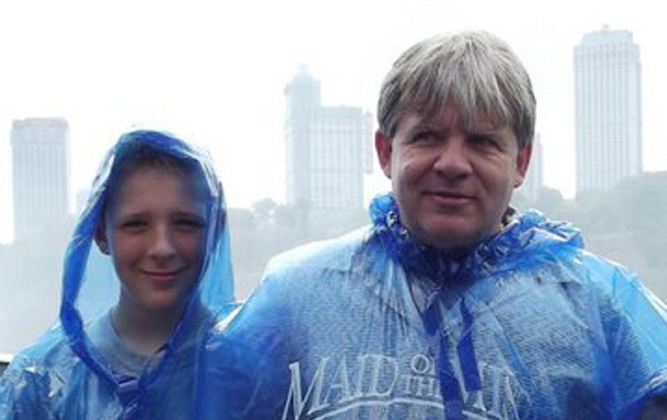 Casey Cloutier, 14, left, and his father, Gus Cloutier, 49, center, were killed in December 2014 in a car accident in Leeds.