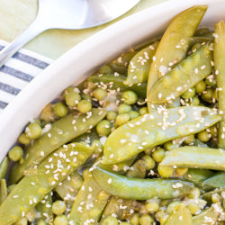 Mixed peas with miso-sesame sauce will be a go-to hit in your kitchen.