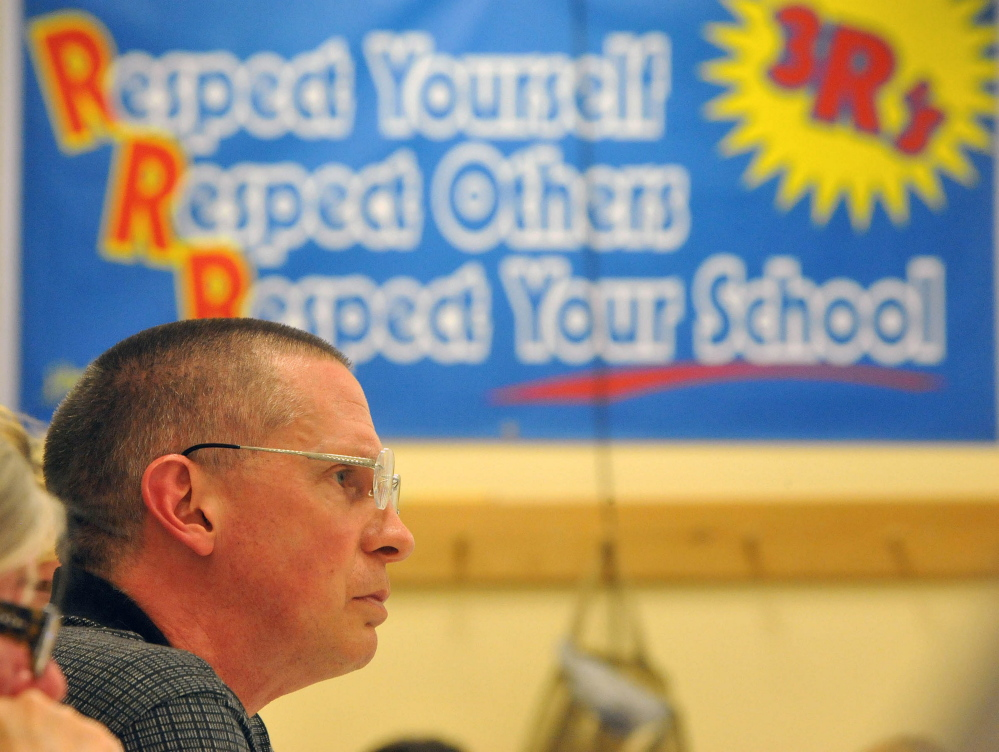 School Administrative District 54 board Chairman Tim Downing takes part in a school board meeting May 7, 2015, in Skowhegan, at which the board voted to keep the Indians nickname. Downing, who voted to make the change, said Tuesday the board is unlikely to reverse that decision anytime soon.