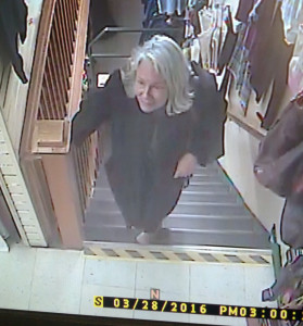 A still image taken from security video at a Renys store in Damariscotta allegedly shows Nancie Atwell, who is charged with misdemeanor theft.