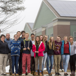Students in the Camden Windplanners explore and then work to implement energy solutions at Camden Hills Regional High School. From left are: Charlie Cooper, James Lynch, Margo Murphy (a club adviser), Keith Rose (facilities director), Kara Robak, Shawn Albertson, Aidan Acosta, Tom McClellan, Emmett Acosta, Sadie Mills, Marta Denny, Malea Russell, Fran Woodsworth, Tom Cox, Willow Grinnell, Katherine Snyder, Annie James and Emma McGurren.