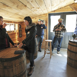 """Participants on a recent """"Birds on Tap"""" tour sample beers at Oxbow Brewing Company in Newcastle following a morning of birding on Merrymeeting Bay in Bowdoinham."""