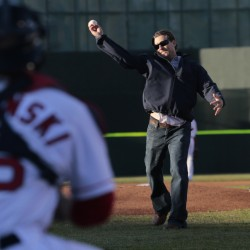 Todd Claus, who was the manager in 2006 when the Portland Sea Dogs won their only Eastern League championship, throws the first pitch Thursday at Hadlock Field.