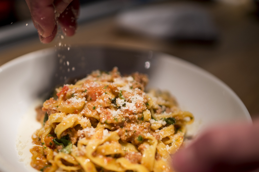PORTLAND, ME - APRIL 8: Bolognese with tagliatelle, fonduta, and basil, photographed for Dine Out Maine at Roustabout Friday, April 8, 2016. (Photo by Gabe Souza/Staff Photographer)