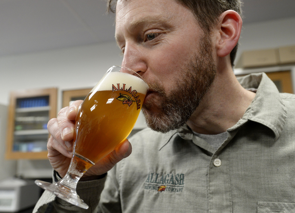 Allagash brewmaster Jason Perkins says for years he has wanted to make a beer that could use products grown on Maine farms. Shawn Patrick Ouellette/Staff Photographer