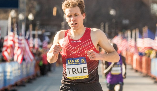 Ben True runs in the Boston Athletic Association 5K Road Race on Saturday in Boston. True, a three-time winner from North Yarmouth, finished second.