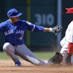 Marco Hernandez steals second base as Blue Jays second baseman Ryan Goins, left, is unable to handle the throw. Hernandez started at second base and got his first major-league hit, but the Red Sox lost, 5-3.