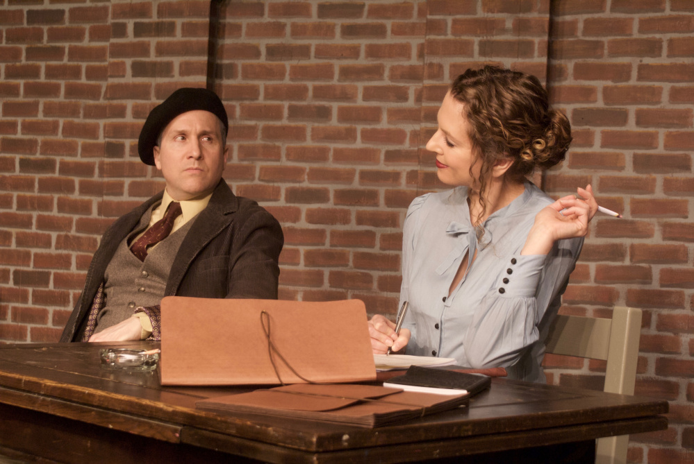 """Photo by Theresa Mattor Husband-and-wife team Jennifer Porter and Dana Packard co-directed and co-star in Jeffrey Hatcher's """"A Picasso"""" at the Saco River Theatre in Buxton."""