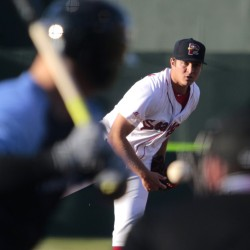 Kevin McAvoy of the Sea Dogs throws a pitch in the second inning Tuesday night at Hadlock Field. McAvoy improved to 3-0, allowing four hits in six innings of the Sea Dogs' 4-2 win over Trenton.