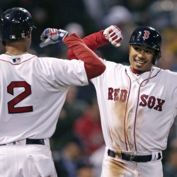 Boston's Mookie Betts, right, is congratulated by Xander Bogaerts after his two-run home run in the second inning Wednesday night against the Tampa Bay Rays at Boston.