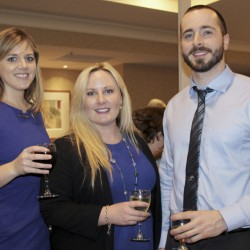 Anastasia Bean, Megan Hezlep and Ben Stallman, all representing Cross Insurance, at YCMA Casco Bay Branch fundraiser that raised $60,000 to provide one-on-one support for members with disabilities.