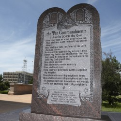 The Ten Commandments monument at the state Capitol in Oklahoma City was erected in 2012. The state Supreme Court ordered its removal in 2015.
